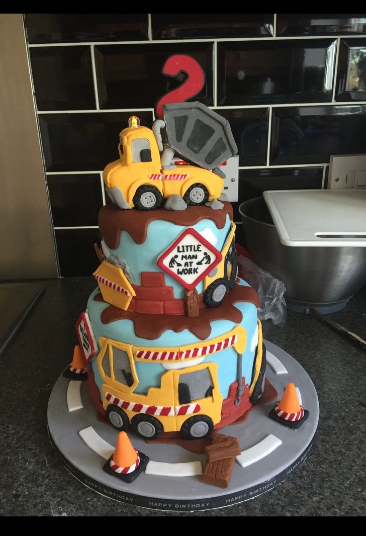 Construction and Digger Birthday Cake