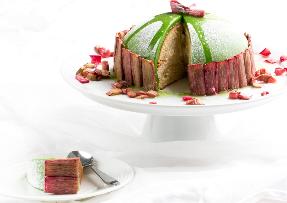 Rhubarb and Marzipan Torte