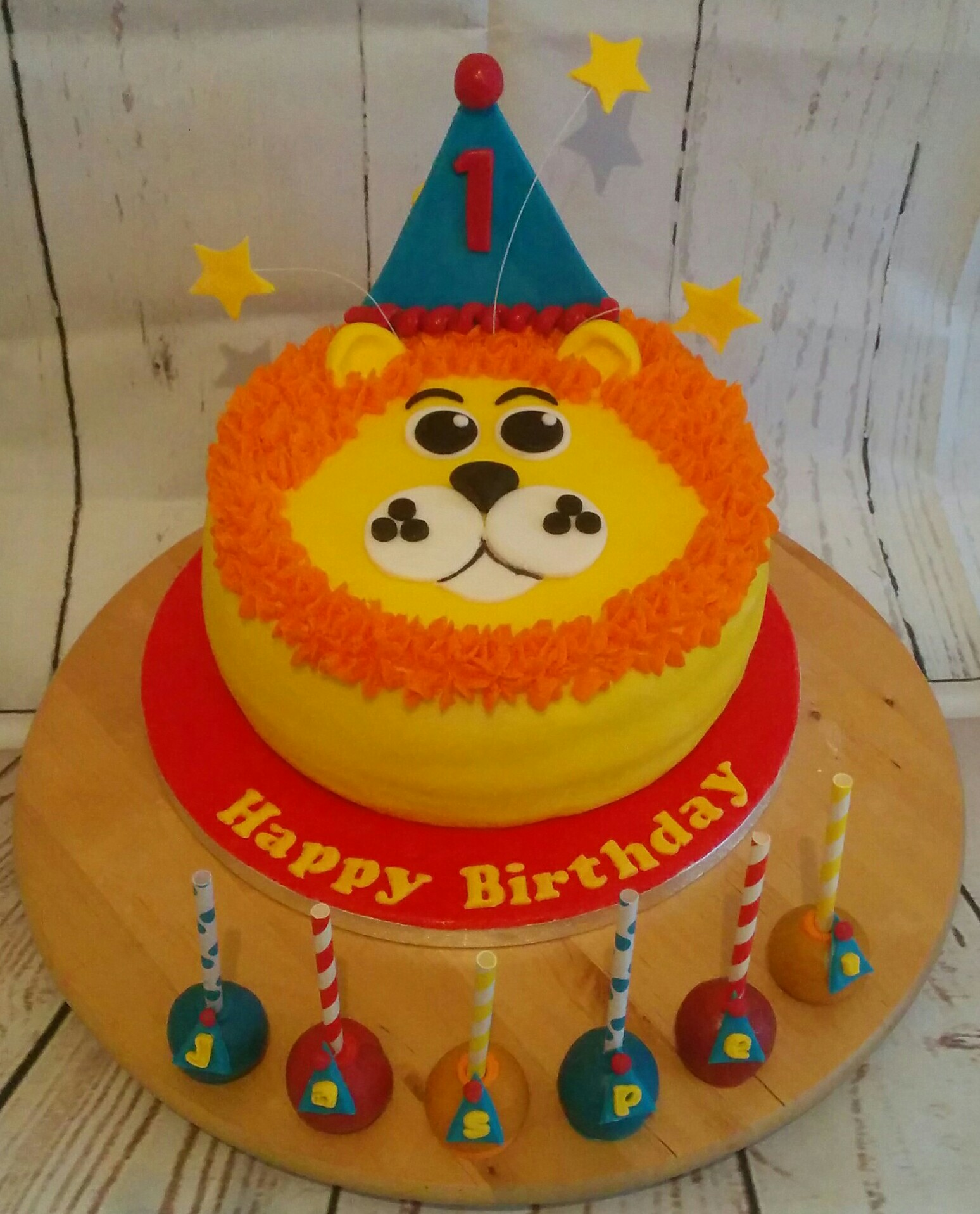 Lion Birthday Cake and Matching Cake Pops