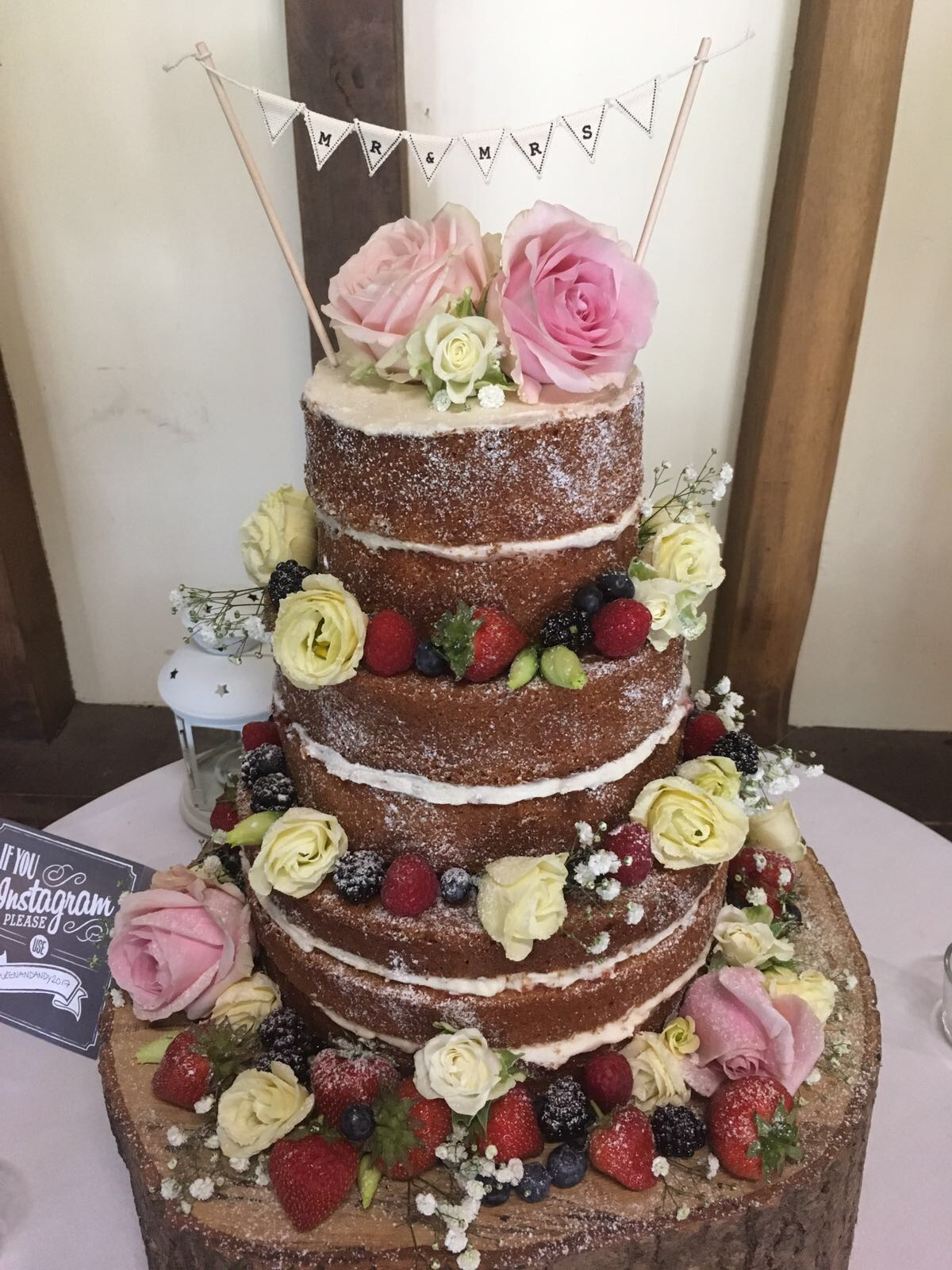Naked Summer Wedding Cake