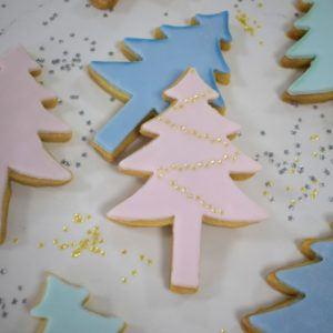 Pastel Christmas Tree Biscuits