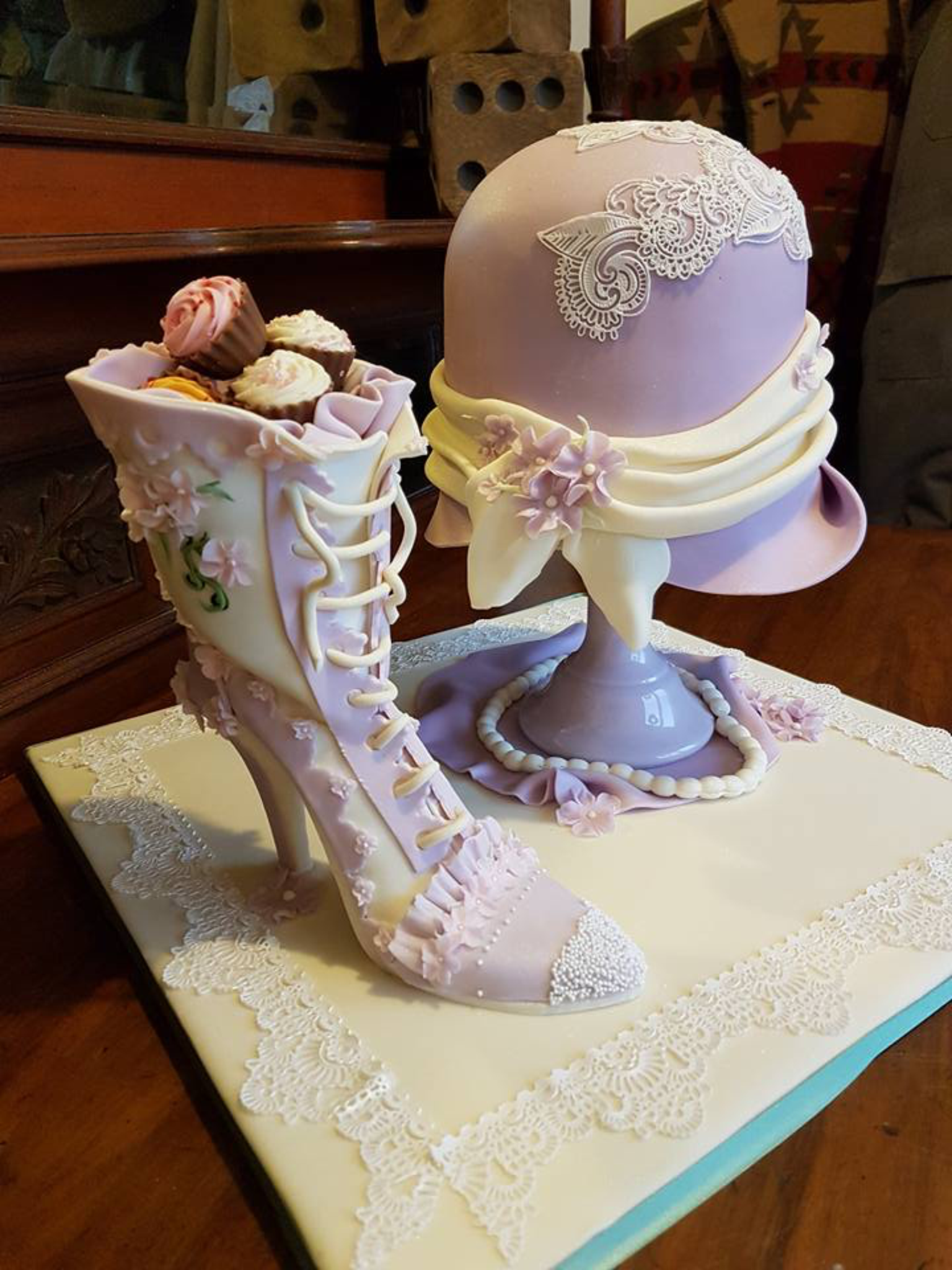 Vintage Cloche Hat and Boot Cake