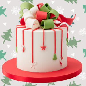 Royal Icing Christmas Bow Cake